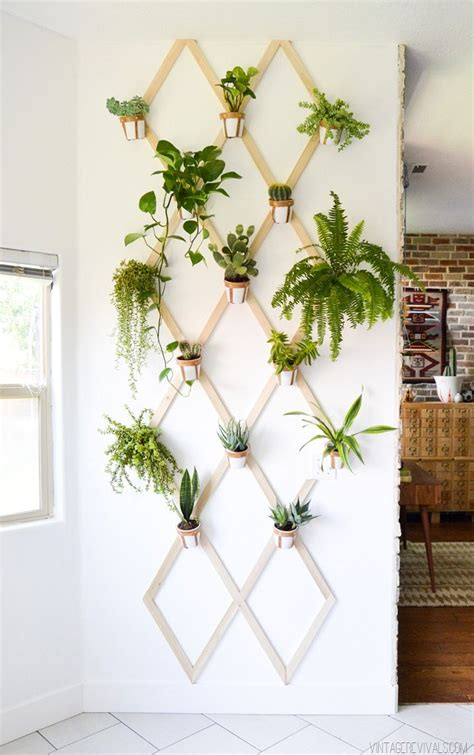 Interior Plant Wall | diy wood and leather trellis plant wall vintage revivals