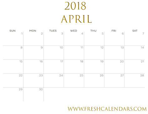 with gold april 2018 april 2018 printable calendar templates