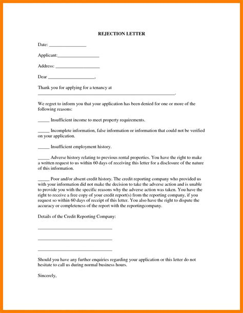 Lease Decline Letter rental application cover letter choice image cover