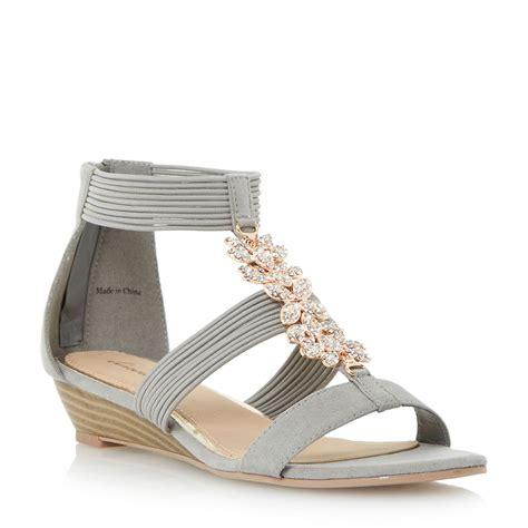 grey sandal wedges linea kavana elastic trim wedge sandal in gray grey lyst