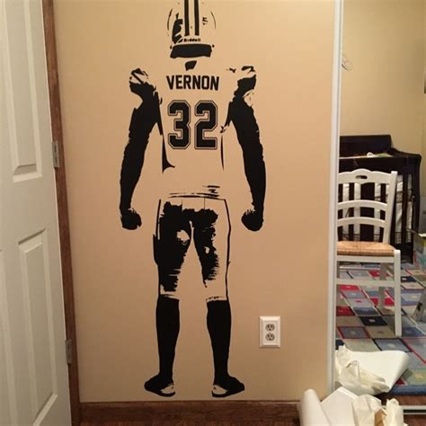 jersey home decor wall art football wall decal decor custom jersey name and