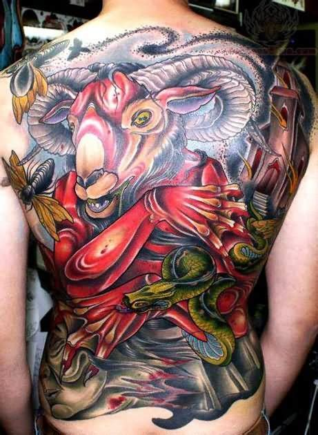 oriental goat tattoo goat and snake tattoo on back