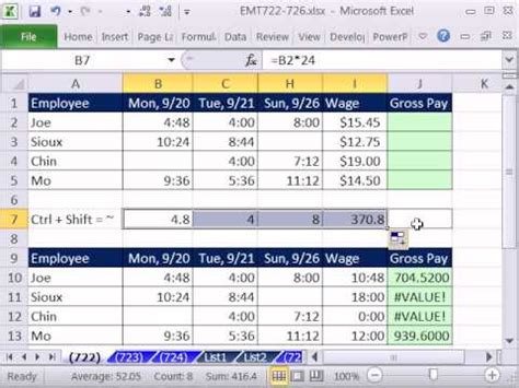 excel magic trick 722 calculate gross pay for week from time values