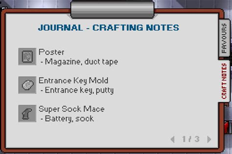 how to craft putty in the escapists image screenshot journal crafting notes png the