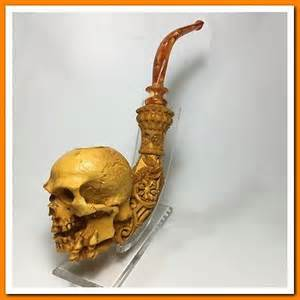 Ebay Turkey S Yanik Meerschaum Pipe Xl Bone Hand Holding Skull 3