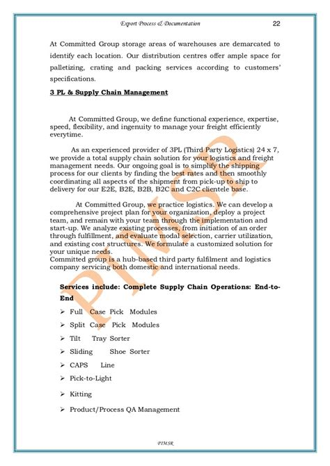 Offer Letter Export a project report on export process and documentation