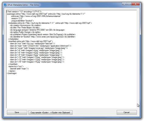 ebook format opf edit metadata information of epub files
