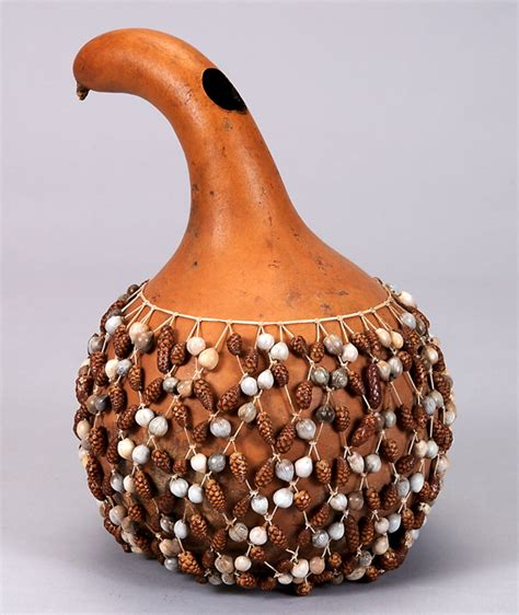 Beaded Gourd Rattle Cabaca Cameroon Mid 20th Century