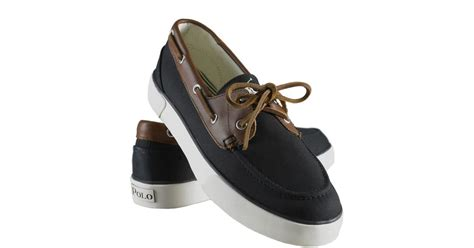 polo ralph rylander canvas boat shoes in black for