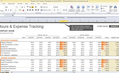 Project Cost Tracker Template For Excel 2013 Project Cost Summary Template Excel