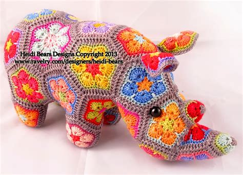 free pattern heidi bears heidi bears thandi the african flower rhino crochet