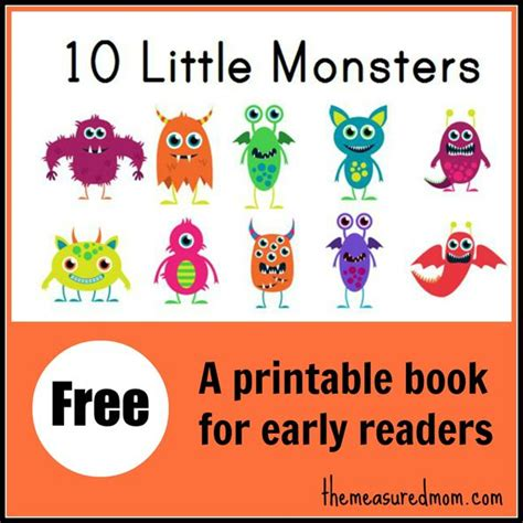 printable kindergarten books 10 little monsters a free printable book for early