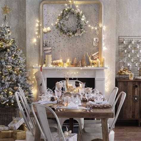 white decorations uk gold dining room with shimmering candles