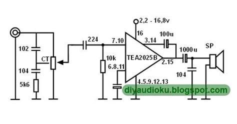 Rangkaian Speaker Aktif Mini rangkaian power lifier tea2025b dengan pcb layout skema rangkaian elektronika