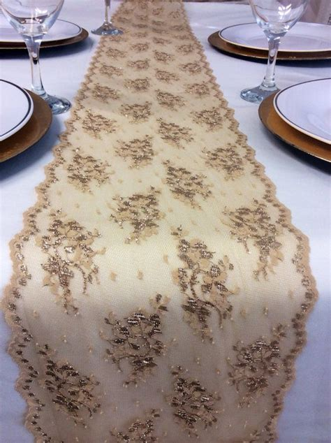 gold lace table runner chagne gold lace table runner 5ft to 10ft by