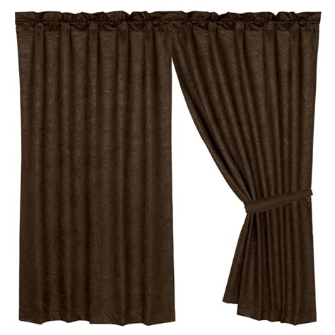 Cowhide Curtains Caldwell Cowhide Faux Tooled Leather Curtain