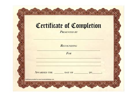 formal certificate of completion template exle with