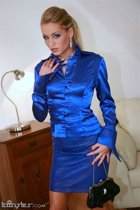 Saten Royal Silk blue satin skirt suit satin clothed