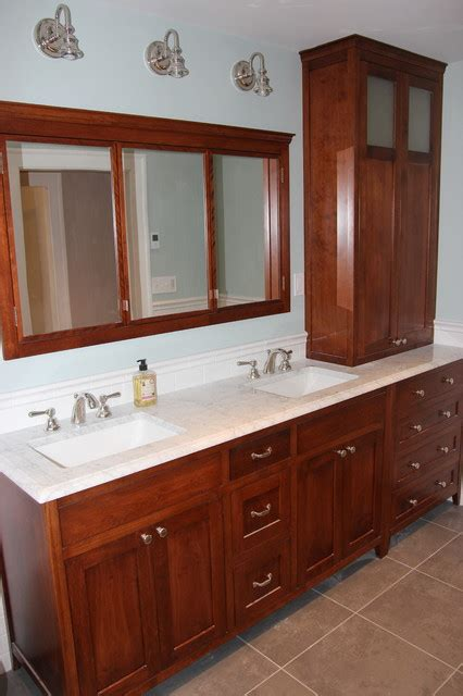 bathroom vanity hutch cabinets stained birch vanity hutch and