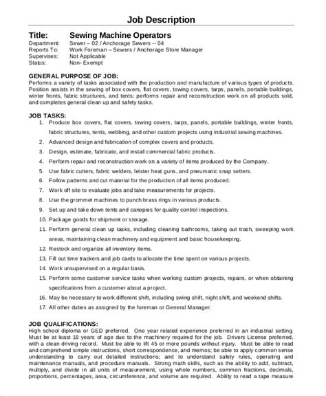 Machine Operator Description For Resume by 8 Machine Operator Description Sles Sle Templates
