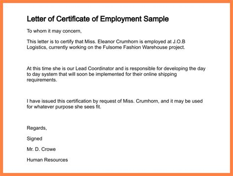 letter request for a certification request letter format for certificate of employment the