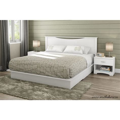 White Platform Bed South Shore Step One 2 Drawer King Size Platform Bed In White 3160237 The Home Depot