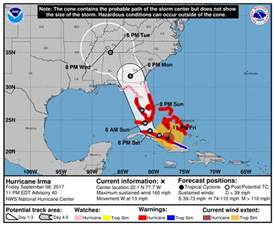 hurricane irma expected to intensify nearing florida but