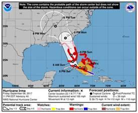 hurricane map florida hurricane irma expected to intensify nearing florida but