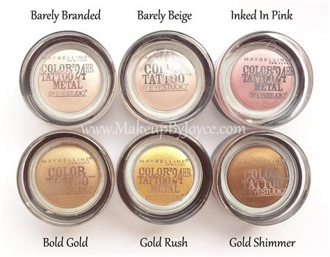 maybelline color tattoo swatches makeupbyjoyce review swatches maybelline color