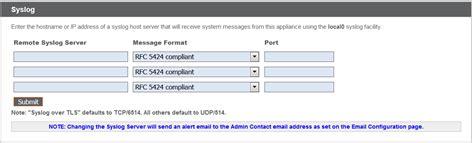 syslog server port security gt appliance administration