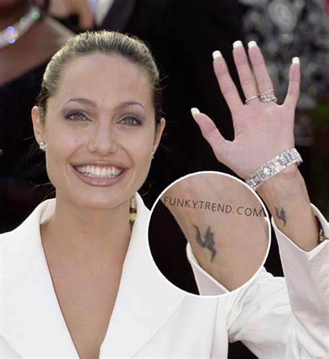 celebrity wrist tattoos angelina jolie tattoo funky trend