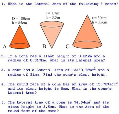 Area Of A Cone Section by Freemathtutoring Lateral Area Of A Cone Exercises Part