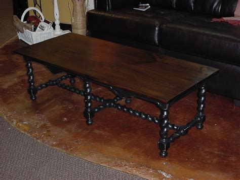 stained top coffee table on barley twist base approx