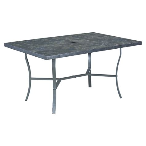 Tile Top Patio Dining Table by Home Styles Cumberland 60 In Rectangular Slate Tile