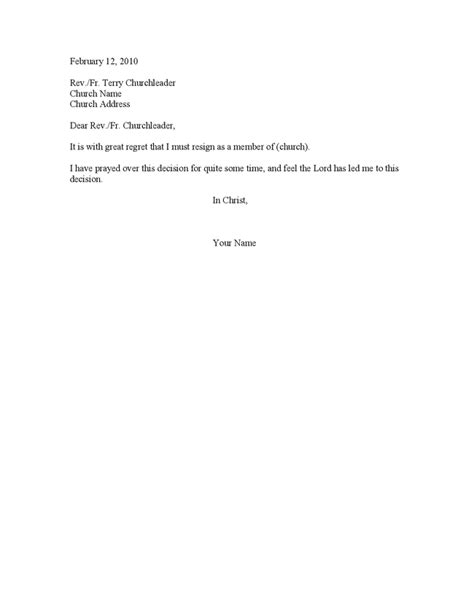 Resignation Letter Of Church Position Sle Resignation Letter As A Church Member