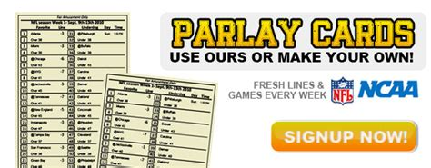 Nfl Parlay Card Template by Printable Custom Parlay Cards Parlay Cards Now