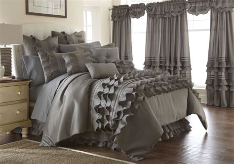 ruffled comforter set 24 piece platinum ruffled comforter set queen