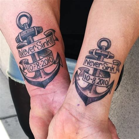 anchor tattoo for couples never sink memorial anchor couple tattoo creativefan