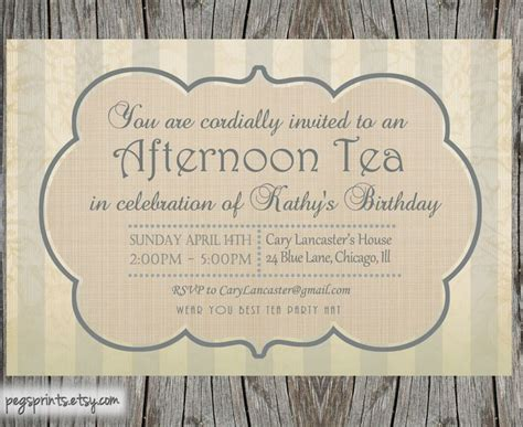 high tea invitation template party idees pinterest