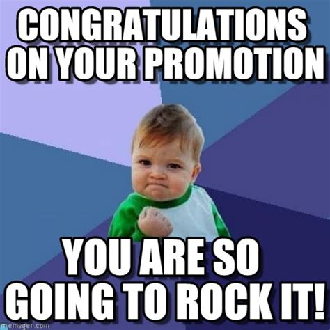 Funny Congratulations Meme - congratulations on your promotion success kid meme on
