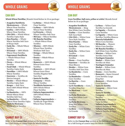whole grains for wic california wic food list