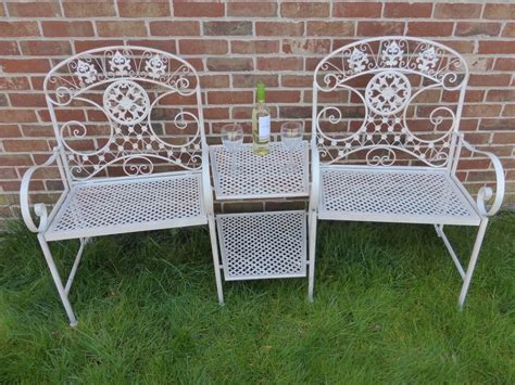 2 seater metal garden bench cream 2 seater loveseat metal garden bench 2 chairs with