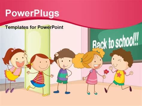 powerpoint template children illustration of a entering in classroom powerpoint