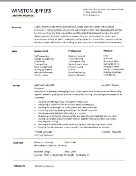 restaurant manager resume sles pdf restaurant assistant manager resume templates cv exle description cover letter