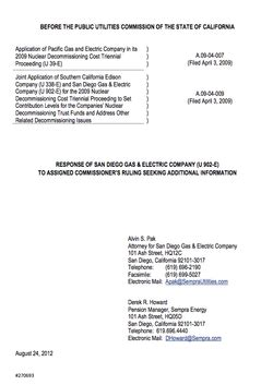 Sdg E Credit Letter proposed changes to san onofre s decommissioning fund kpbs