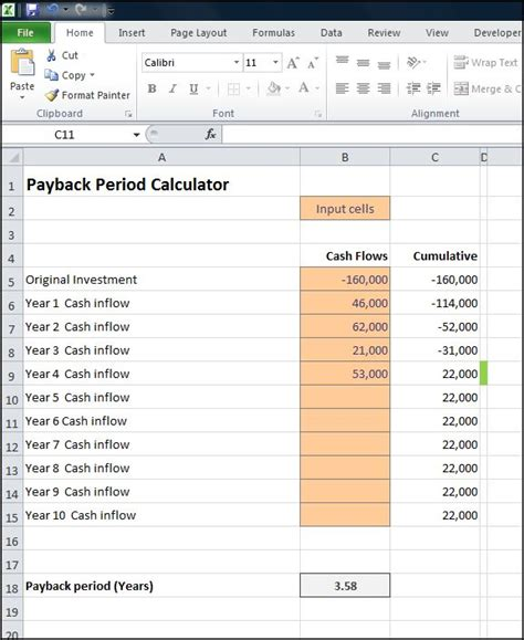 Payback Period Template payback period calculator entry bookkeeping