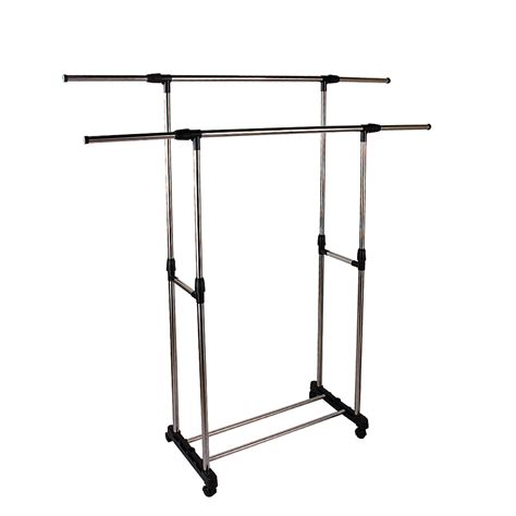 Portable Clothing Rack by Portable Wheels Stainless Steel Bar Clothes Garment