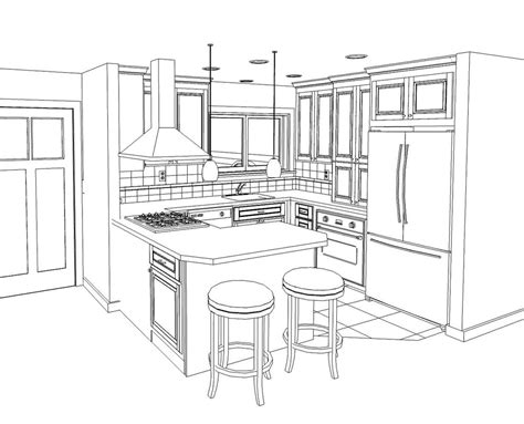 Kitchen Cabinet Drawing Kitchen Drawing Marceladick