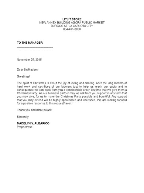 solicitation letter suppliers