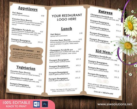 french menutemplates printable restaurant menu template
